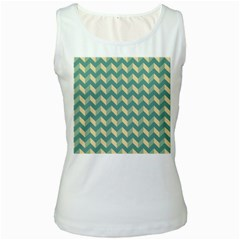 Mint Modern Retro Chevron Patchwork Pattern Women s Tank Top (white) by creativemom