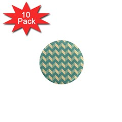 Mint Modern Retro Chevron Patchwork Pattern 1  Mini Button Magnet (10 Pack) by creativemom