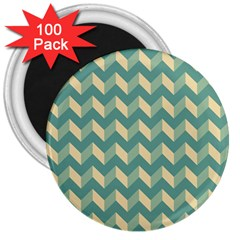 Mint Modern Retro Chevron Patchwork Pattern 3  Button Magnet (100 Pack) by creativemom