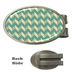 Mint Modern Retro Chevron Patchwork Pattern Money Clip (oval) by creativemom
