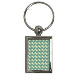 Mint Modern Retro Chevron Patchwork Pattern Key Chain (rectangle) by creativemom