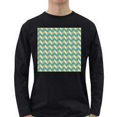Mint Modern Retro Chevron Patchwork Pattern Men s Long Sleeve T-shirt (dark Colored) by creativemom