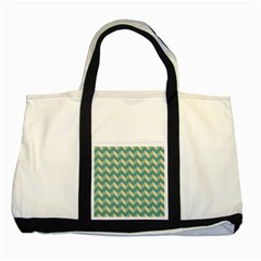 Mint Modern Retro Chevron Patchwork Pattern Two Toned Tote Bag by creativemom