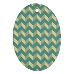 Mint Modern Retro Chevron Patchwork Pattern Oval Ornament (two Sides) by creativemom