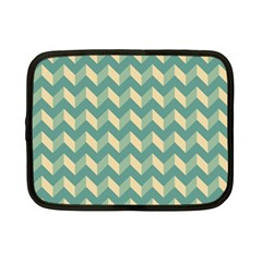 Mint Modern Retro Chevron Patchwork Pattern Netbook Sleeve (small) by creativemom