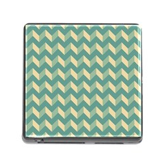 Mint Modern Retro Chevron Patchwork Pattern Memory Card Reader With Storage (square) by creativemom