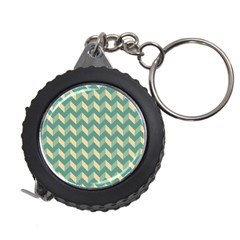 Mint Modern Retro Chevron Patchwork Pattern Measuring Tape by creativemom