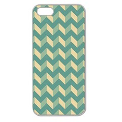 Mint Modern Retro Chevron Patchwork Pattern Apple Seamless Iphone 5 Case (clear) by creativemom