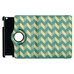 Mint Modern Retro Chevron Patchwork Pattern Apple Ipad 2 Flip 360 Case by creativemom