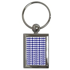 Blue And White Leaf Pattern Key Chain (rectangle) by creativemom