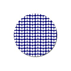Blue And White Leaf Pattern Magnet 3  (round) by creativemom