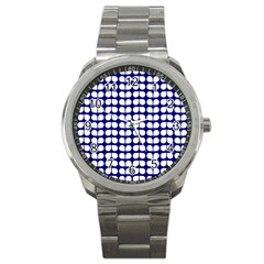 Blue And White Leaf Pattern Sport Metal Watch by creativemom