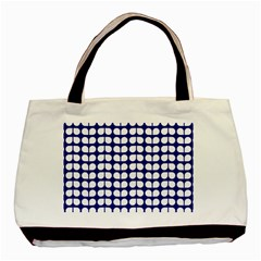 Blue And White Leaf Pattern Twin Sided Black Tote Bag by creativemom