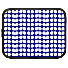 Blue And White Leaf Pattern Netbook Sleeve (xxl) by creativemom