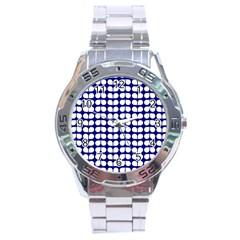 Blue And White Leaf Pattern Stainless Steel Watch by creativemom