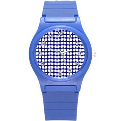 Blue And White Leaf Pattern Plastic Sport Watch (small) by creativemom