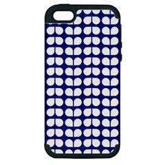 Blue And White Leaf Pattern Apple Iphone 5 Hardshell Case (pc+silicone) by creativemom