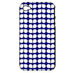 Blue And White Leaf Pattern Apple Iphone 4/4s Hardshell Case (pc+silicone) by creativemom