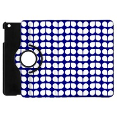Blue And White Leaf Pattern Apple Ipad Mini Flip 360 Case by creativemom