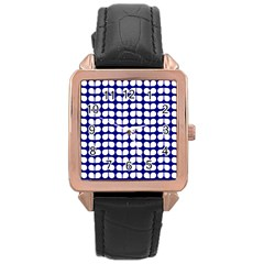 Blue And White Leaf Pattern Rose Gold Leather Watch  by creativemom