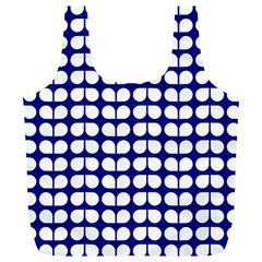 Blue And White Leaf Pattern Reusable Bag (xl) by creativemom