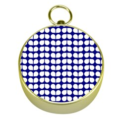 Blue And White Leaf Pattern Gold Compass by creativemom