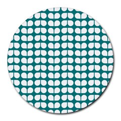 Teal And White Leaf Pattern 8  Mouse Pad (round) by creativemom