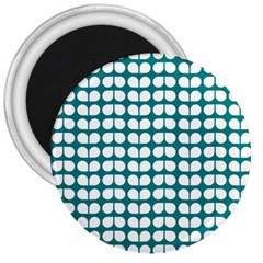 Teal And White Leaf Pattern 3  Button Magnet by creativemom