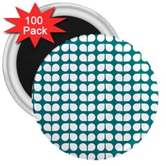 Teal And White Leaf Pattern 3  Button Magnet (100 Pack) by creativemom