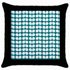 Teal And White Leaf Pattern Black Throw Pillow Case by creativemom