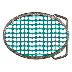 Teal And White Leaf Pattern Belt Buckle (oval) by creativemom