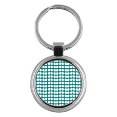 Teal And White Leaf Pattern Key Chain (round) by creativemom