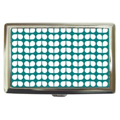 Teal And White Leaf Pattern Cigarette Money Case by creativemom