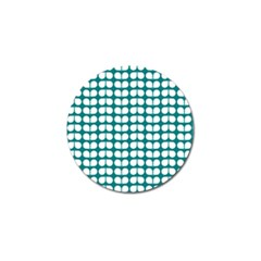 Teal And White Leaf Pattern Golf Ball Marker by creativemom