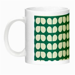 Teal And White Leaf Pattern Glow In The Dark Mug by creativemom