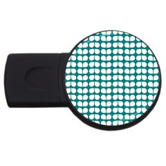Teal And White Leaf Pattern 4gb Usb Flash Drive (round) by creativemom