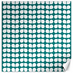 Teal And White Leaf Pattern Canvas 16  X 16  (unframed) by creativemom