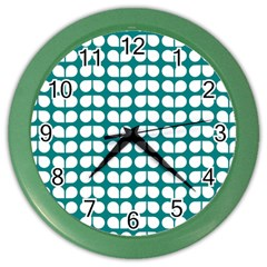Teal And White Leaf Pattern Wall Clock (color) by creativemom