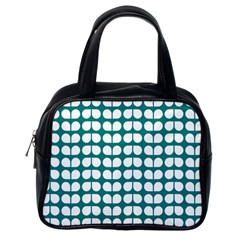 Teal And White Leaf Pattern Classic Handbag (one Side) by creativemom
