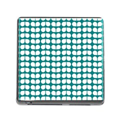 Teal And White Leaf Pattern Memory Card Reader With Storage (square) by creativemom