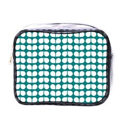 Teal And White Leaf Pattern Mini Travel Toiletry Bag (one Side)