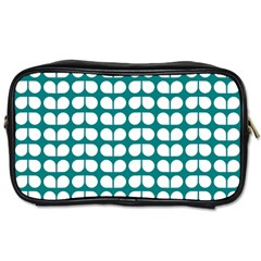 Teal And White Leaf Pattern Travel Toiletry Bag (one Side) by creativemom