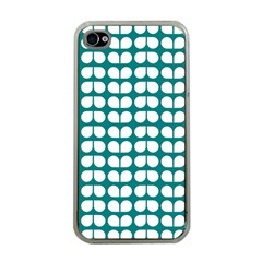 Teal And White Leaf Pattern Apple Iphone 4 Case (clear) by creativemom