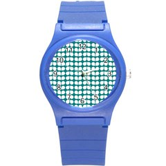 Teal And White Leaf Pattern Plastic Sport Watch (small) by creativemom