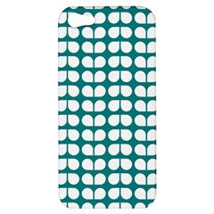 Teal And White Leaf Pattern Apple Iphone 5 Hardshell Case by creativemom