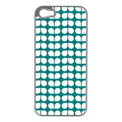 Teal And White Leaf Pattern Apple Iphone 5 Case (silver) by creativemom