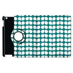 Teal And White Leaf Pattern Apple Ipad 2 Flip 360 Case by creativemom