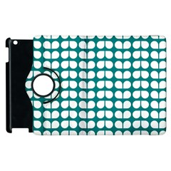 Teal And White Leaf Pattern Apple Ipad 3/4 Flip 360 Case by creativemom