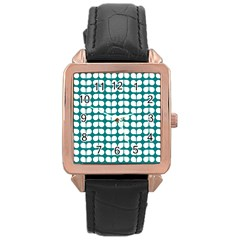 Teal And White Leaf Pattern Rose Gold Leather Watch  by creativemom