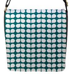 Teal And White Leaf Pattern Flap Closure Messenger Bag (small) by creativemom
